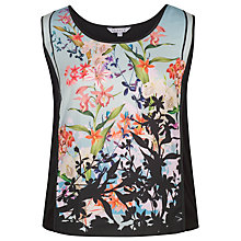 Buy Chesca Floral Print Jersey Camisole Top, Black Online at johnlewis.com
