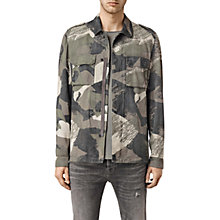 Buy AllSaints Contact Suede Overshirt, Khaki Brown Camo Online at johnlewis.com