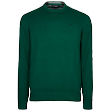 Buy Hackett London Cotton Crew Neck Jumper, Emerald Green Online at johnlewis.com