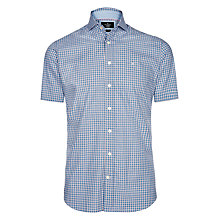 Buy Hackett London Short Sleeve Gingham Shirt, Blue Online at johnlewis.com