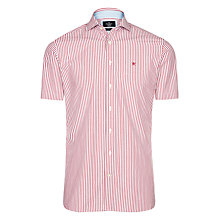 Buy Hackett London Short Sleeve Boarder Stripe Shirt, Red/White Online at johnlewis.com