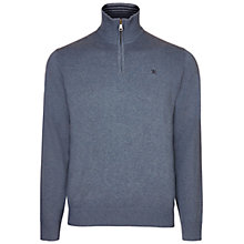 Buy Hackett London Half Zip Jumper, Denim Blue Online at johnlewis.com