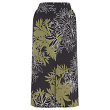 Buy Warehouse Leaf Print Column Skirt, Black Online at johnlewis.com
