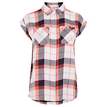 Buy Oasis Roll Sleeve Check Shirt, Multi/Orange Online at johnlewis.com