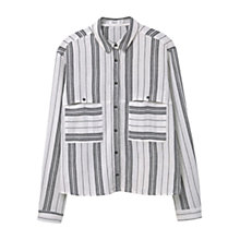 Buy Mango Striped Shirt, Natural White Online at johnlewis.com