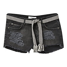 Buy Mango Distressed Denim Shorts, Open Grey Online at johnlewis.com