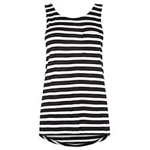 Buy Warehouse Stripe Pocket Vest, Black Online at johnlewis.com