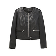 Buy Mango Leather Jacket, Black Online at johnlewis.com