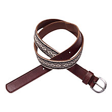 Buy Fat Face Zig Zag Ribbon Belt, Brown Online at johnlewis.com