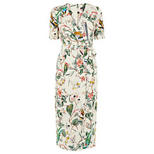 Buy Warehouse Print Bird Wrap Dress, Neutral Online at johnlewis.com