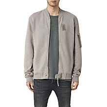 Buy AllSaints West Cotton Bomber Jacket, Putty Grey Online at johnlewis.com