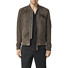 Buy AllSaints Murdock Suede Bomber Jacket, Khaki Green Online at johnlewis.com