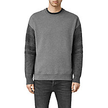 Buy AllSaints Athlon Crew Jumper, Charcoal Online at johnlewis.com
