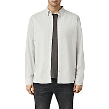 Buy AllSaints Nissen Long Sleeve Shirt, Light Grey Online at johnlewis.com