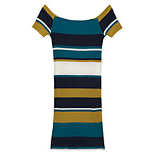 Buy Mango Striped Fitted Dress, Bright Yellow Online at johnlewis.com