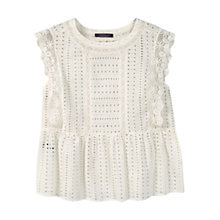 Buy Violeta by Mango Openwork Top, Natural White Online at johnlewis.com