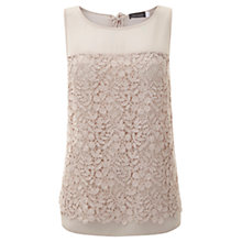 Buy Mint Velvet Shell Lace Layer Top, Pale Pink Online at johnlewis.com