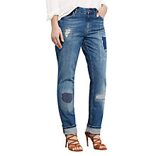 Buy Violeta by Mango Ripped Detail Slim Jeans, Open Blue Online at johnlewis.com