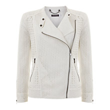 Buy Mint Velvet Broderie Biker Jacket, Ivory Online at johnlewis.com