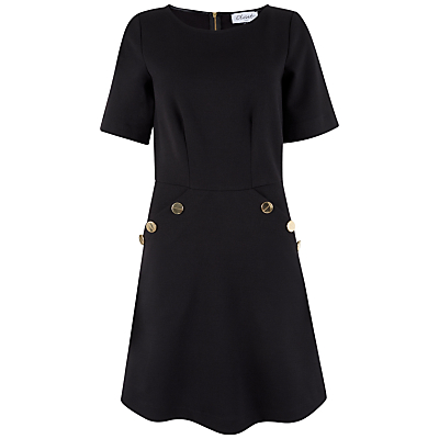 Closet Button Pocket A-Line Dress, Black