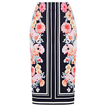Buy Oasis Stripe Floral Pencil Skirt, Multi Blue Online at johnlewis.com