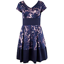 Buy Closet Floral Contrast Hem V Neck Dress, Purple Online at johnlewis.com