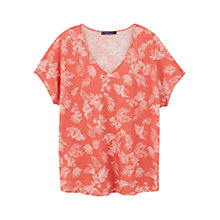 Buy Violeta by Mango Printed Linen T-Shirt, Bright Red Online at johnlewis.com