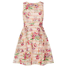 Buy Oasis Organza Skater Dress, Natural/Multi Online at johnlewis.com