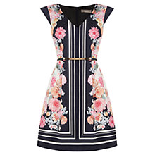 Buy Oasis Floral Stripe Skater Dress, Multi Blue Online at johnlewis.com