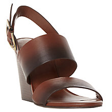 Buy Dune Black Javar Wedge Heeled Sandals, Dark Tan Online at johnlewis.com