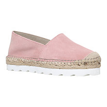 Buy Carvela Lido Leather Platform Espadrilles, Pale Pink Suede Online at johnlewis.com