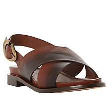 Buy Dune Black Lion Cross Strap Sandals, Dark Tan Online at johnlewis.com