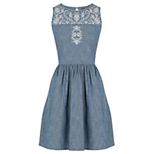 Buy Oasis Alicia Embroidered Denim Dress, Blue Online at johnlewis.com