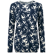 Buy Pure Collection Amelia Palm Print Cashmere Jumper, Navy Online at johnlewis.com