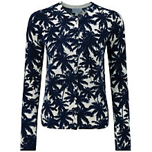 Buy Pure Collection Palm Print Gianna Cashmere Cardigan, Navy Online at johnlewis.com