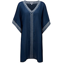 Buy Pure Collection Eva Embroidered Voile Kaftan Dress, Navy Online at johnlewis.com