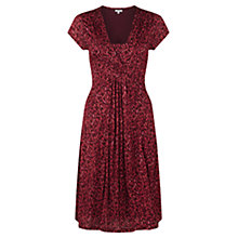 Buy Jigsaw Floating Leaf Print Dress, Red Online at johnlewis.com