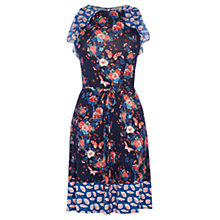 Buy Oasis V&A Harriet Print Ruffle Dress, Navy Online at johnlewis.com
