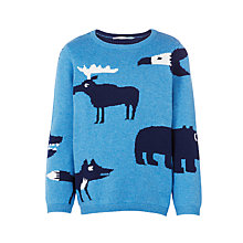 Buy John Lewis Boys' Knitted Animal Print Jumper, Blue Online at johnlewis.com