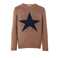 Buy John Lewis Boys' Star Knit Jumper, Brown Online at johnlewis.com