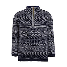 Buy John Lewis Boys' Fair Isle Zip Jumper, Grey Online at johnlewis.com