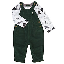 Buy John Lewis Baby Corduroy Dungaree And Bodysuit Set, Green/Multi Online at johnlewis.com