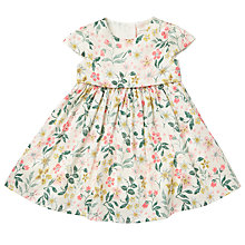 Buy John Lewis Baby Cotton Sateen Dress, Cream/Orange Online at johnlewis.com