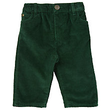 Buy John Lewis Baby Corduroy Button Trousers, Green Online at johnlewis.com