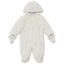 Buy John Lewis Baby Faux Fur Snowsuit, Cream Online at johnlewis.com