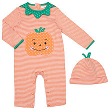 Buy John Lewis Baby Halloween Romper Playsuit and Hat Set, Orange Online at johnlewis.com