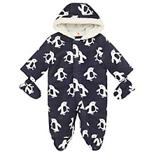 Buy John Lewis Baby Penguin Print Snowsuit, Grey/Cream Online at johnlewis.com