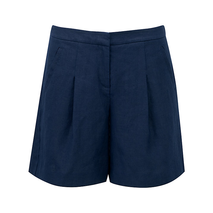Buy Pure Collection Aubree Laundered Linen Shorts, French Navy, 8 Online at johnlewis.com
