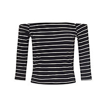 Buy Miss Selfridge Petites Striped Bardot Top, Black Online at johnlewis.com
