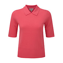 Buy Pure Collection Addison Cashmere Collard T-Shirt, Coral Rose Online at johnlewis.com
